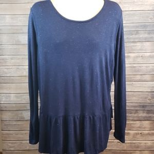 OLD NAVY Sparkle Ruffle Hem Long Sleeved Top